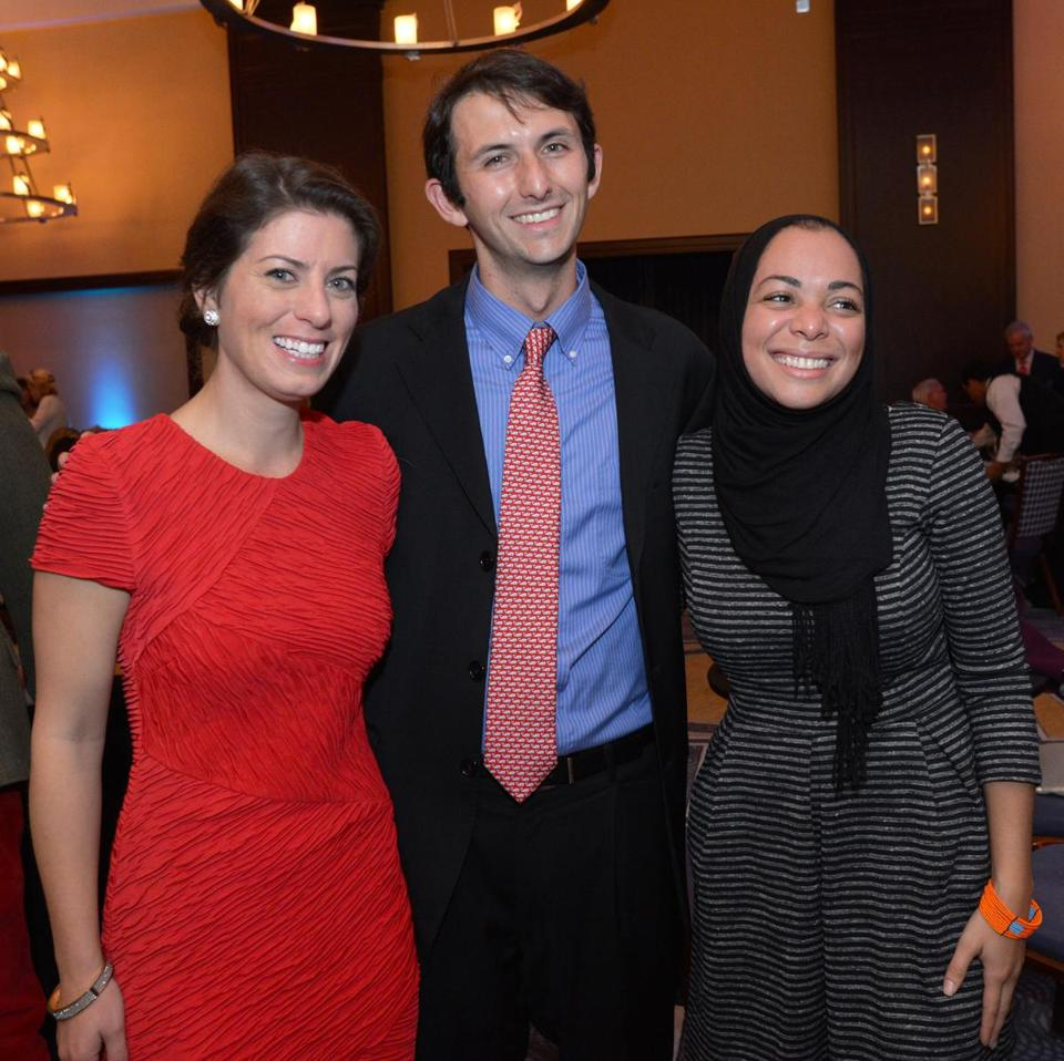 Beckett and Fred Warburg with Iman Abdul-Musawwir (right) celebrating the Max Warburg Courage Curriculum programs.